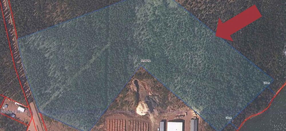 Markområde av Pehrsberg som sålts till Ålands skogsindustrier